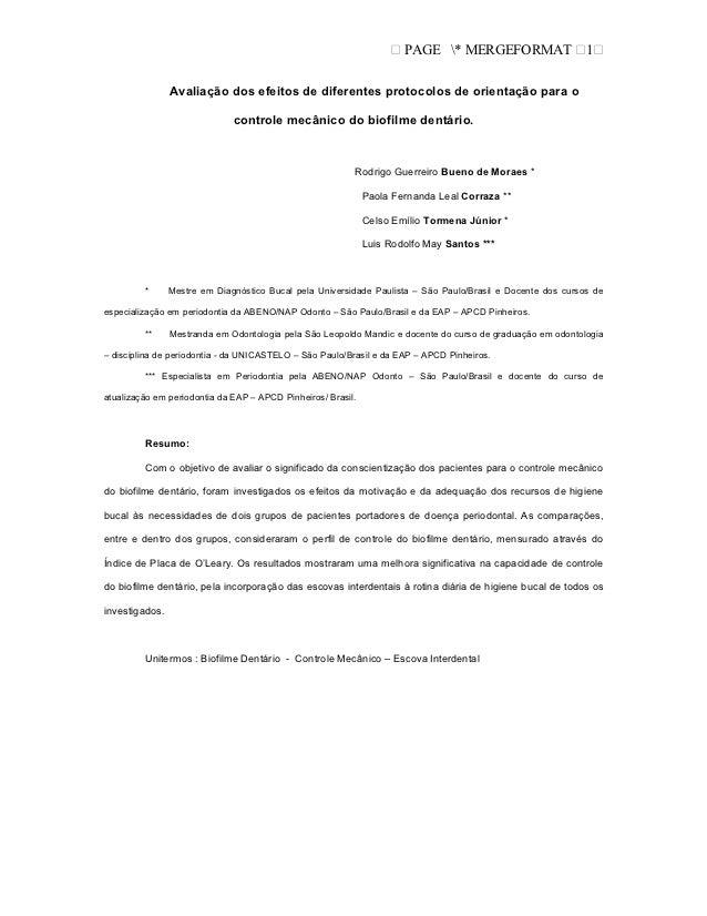 PAGE * MERGEFORMAT                    1                Avaliação dos efeitos de diferentes protocolos de orientação para o...
