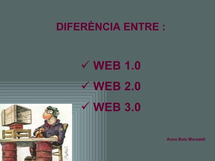<ul><li>DIFERÈNCIA ENTRE : </li></ul><ul><li>WEB 1.0 </li></ul><ul><li>WEB 2.0 </li></ul><ul><li>WEB 3.0 </li></ul><ul><li...