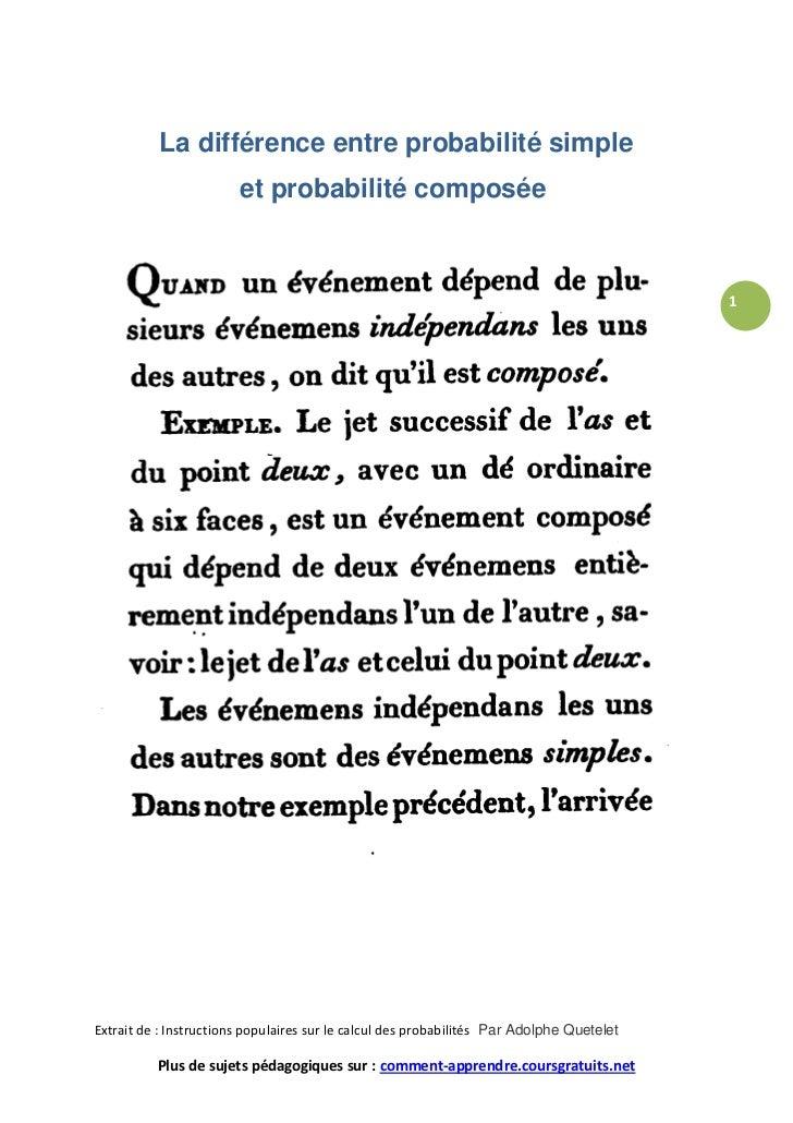 La différence entre probabilité simple                        et probabilité composée                                     ...