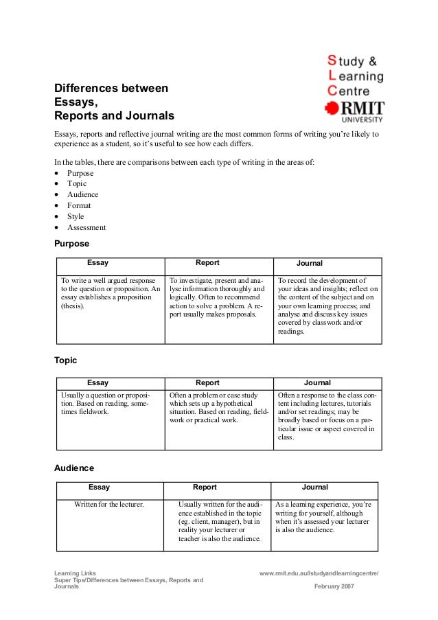 differences between reports and essays