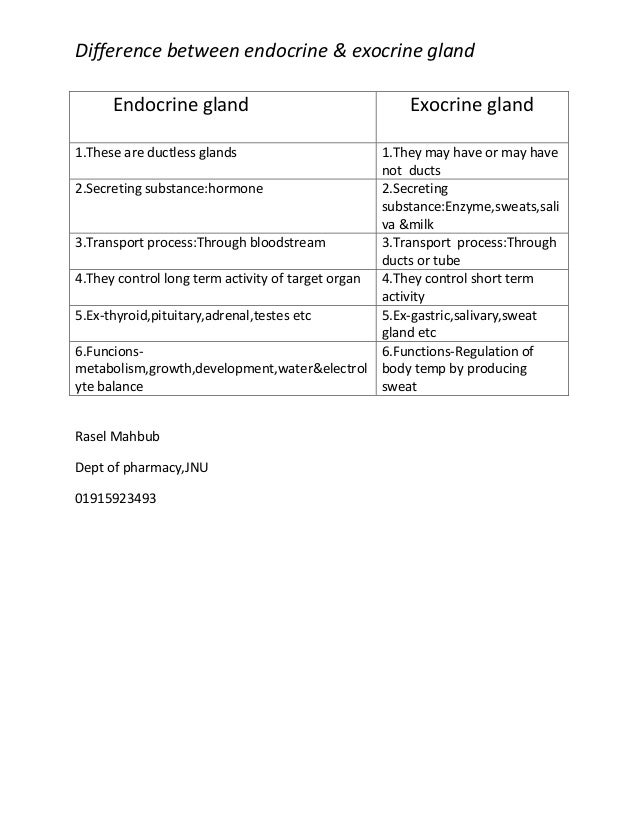 Difference Between Endocrine Amp Exocrine System