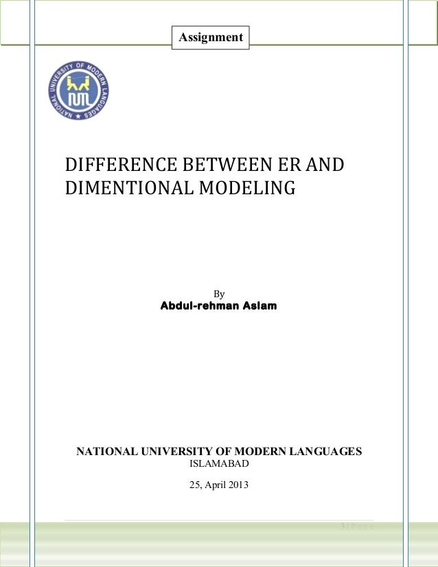 DIFFERENCE BETWEEN ER ANDDIMENTIONAL MODELINGByAbdul-rehman AslamNATIONAL UNIVERSITY OF MODERN LANGUAGESISLAMABAD25, April...