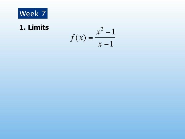 Week 71. Limits