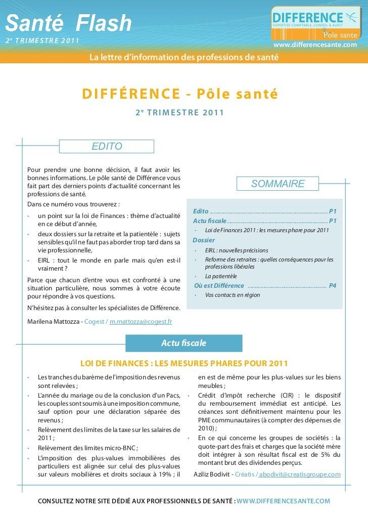 Santé Flash2e trimestre 2011             La lettre d'information pratique de l'officine                                   ...