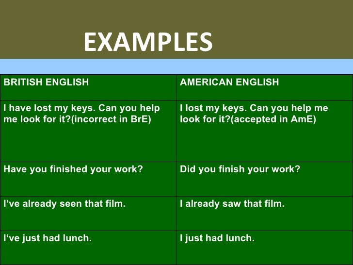 grammatical difference between british and american english The differences between american english and british english when  spelling  and other grammatical differences between these english.