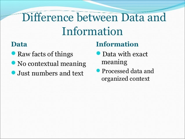describe relationship between data and information