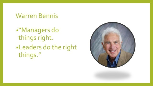 """warren bennis article differences between managers Still, much ink has been spent delineating the differences the manager's job is to plan, organize and coordinate the leader's job is to inspire and motivate in his 1989 book """"on becoming a leader,"""" warren bennis composed a list of the differences: – the manager administers the leader innovates – the manager is a."""