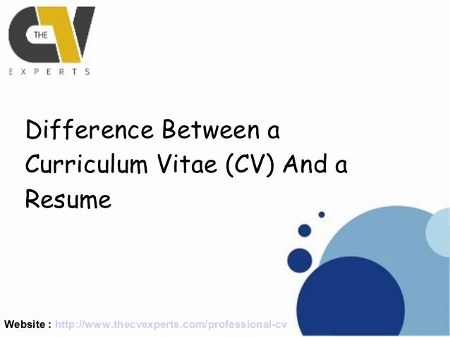 Website : Http://www.thecvexperts.com/professional Cv Difference ...  Resume Vs Vita