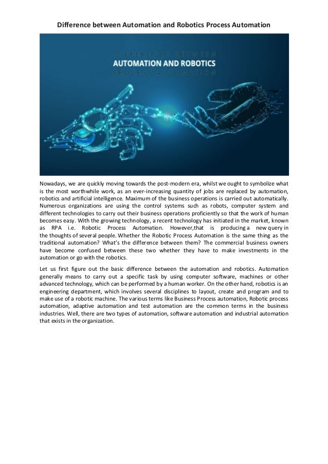 Difference Between Automation And Robotics Process Automation