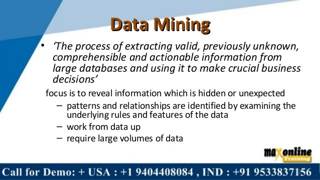 data mining and actionable information While they universally agree that data mining — the examination and analysis of huge batches of information — could invigorate health care.