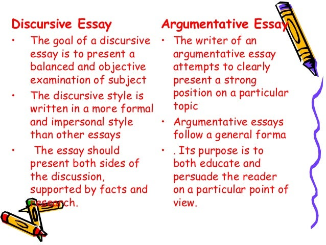 difference between discursive and argumentative essay Discursive wirting discusses the situation at hand it presents an argument in a more balanced way than argumentative and persuasive writing and can.