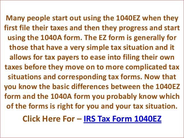 Irs Tax Form 1040 Ez And 1040a