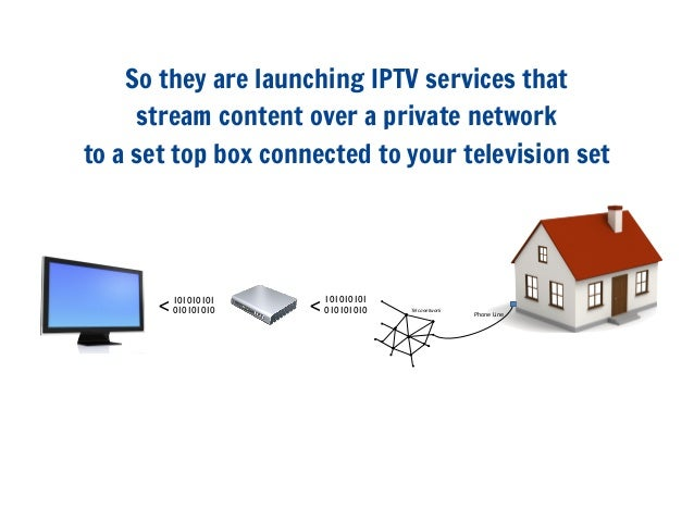 So they are launching IPTV services thatstream content over a private networkto a set top box connected to your television...