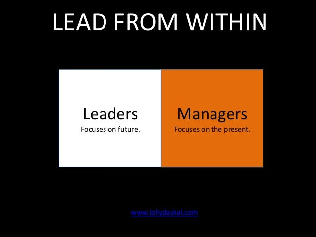 LEAD FROM WITHIN  Leaders  Managers  Focuses on future.  Focuses on the present.  www.lollydaskal.com