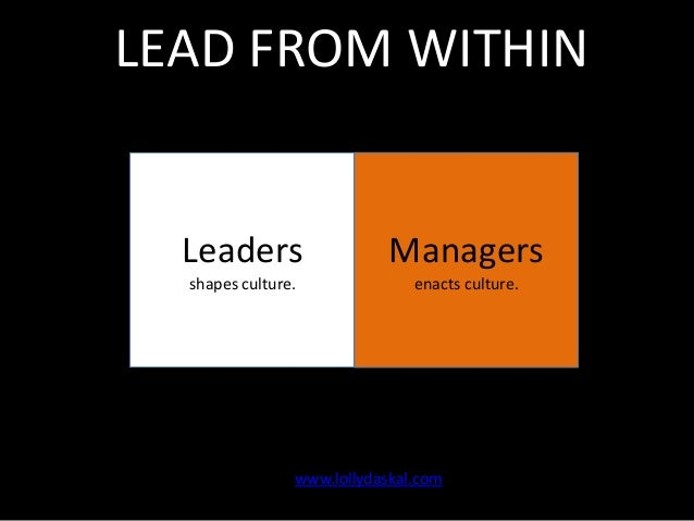 LEAD FROM WITHIN  Leaders  Managers  shapes culture.  enacts culture.  www.lollydaskal.com