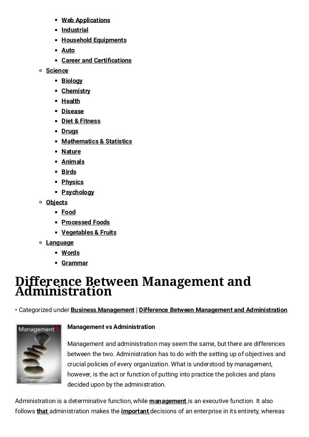 Whats The Difference Between Administrative And Executive >> Difference Between Management And Administration Difference Between