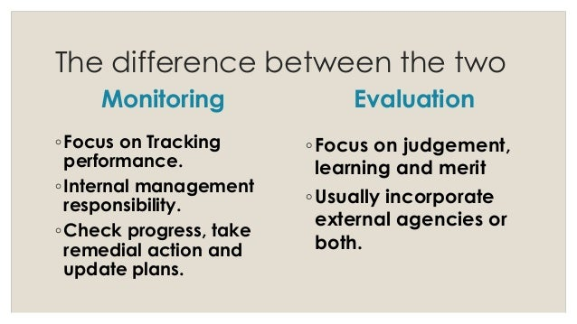 what is the difference between monitoring and evaluation in project management