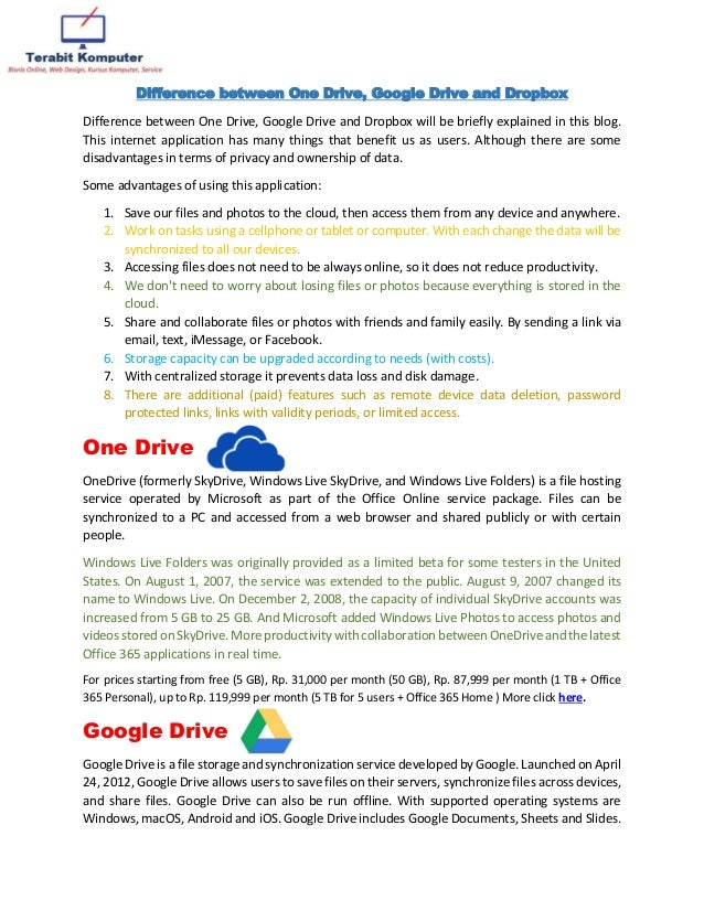 Difference between one drive, google drive and dropbox