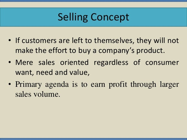 difference betweeen marketing concept and selling Marketing selling concept it is a strategy based on a mix of activities that are aimed at increasing the sales it is the strategy of meeting the needs in an opportunistic, individual method, driven by human interaction.