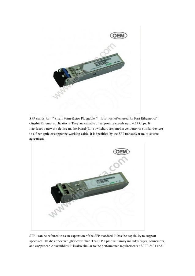 Difference between sfp, sfp+ and xfp Slide 2