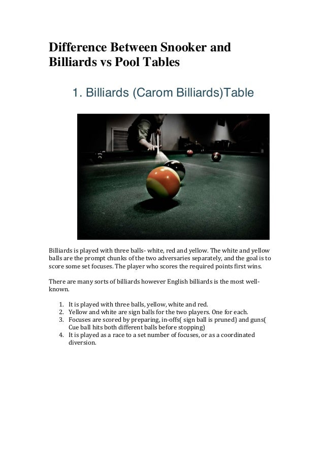 Difference Between Snooker And Billiards Vs Pool Tables