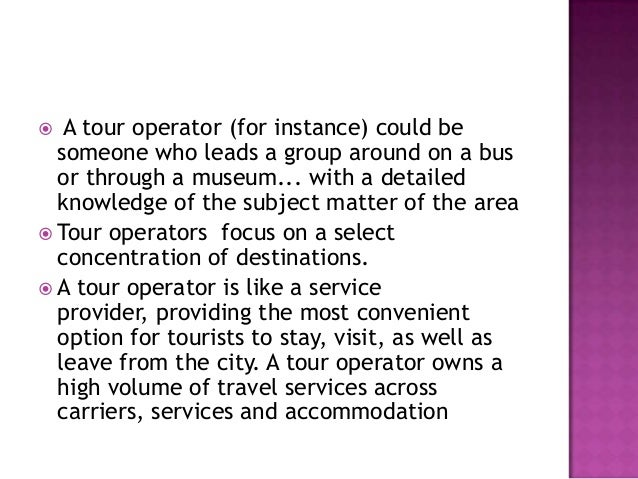 relationship between tour operator and travel agent