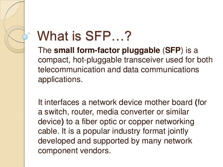 Difference Between XFP & SFP