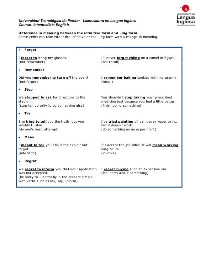 Difference in meaning (ing & infinitive forms)
