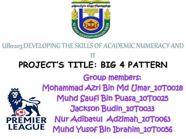 UB0203:DEVELOPING THE SKILLS OF ACADEMIC NUMERACY AND IT PROJECT'S TITLE: BIG 4 PATTERN Group members: Mohammad Azri Bin M...