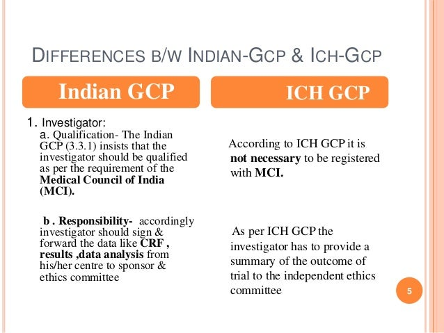 Ich B differences between indian gcp and ich gcp