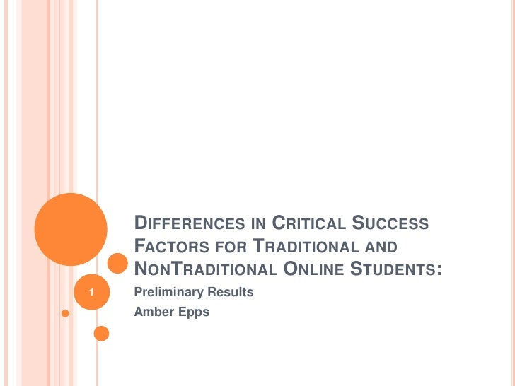 Differences in Critical Success Factors for Traditional and NonTraditional Online Students:<br />Preliminary Results<br />...