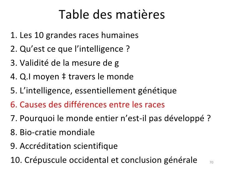 Differences raciales dans l 39 intelligence - Difference entre sommaire et table des matieres ...