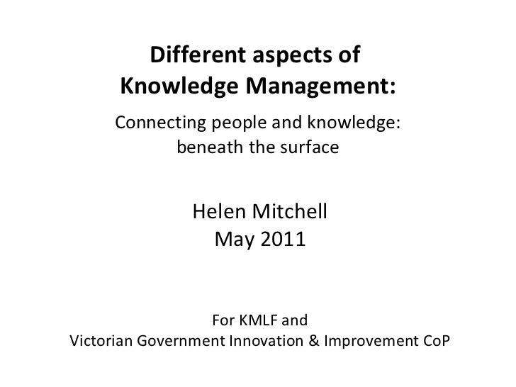 Different aspects of  Knowledge Management: Connecting people and knowledge: beneath the surface Helen Mitchell May 2011 F...