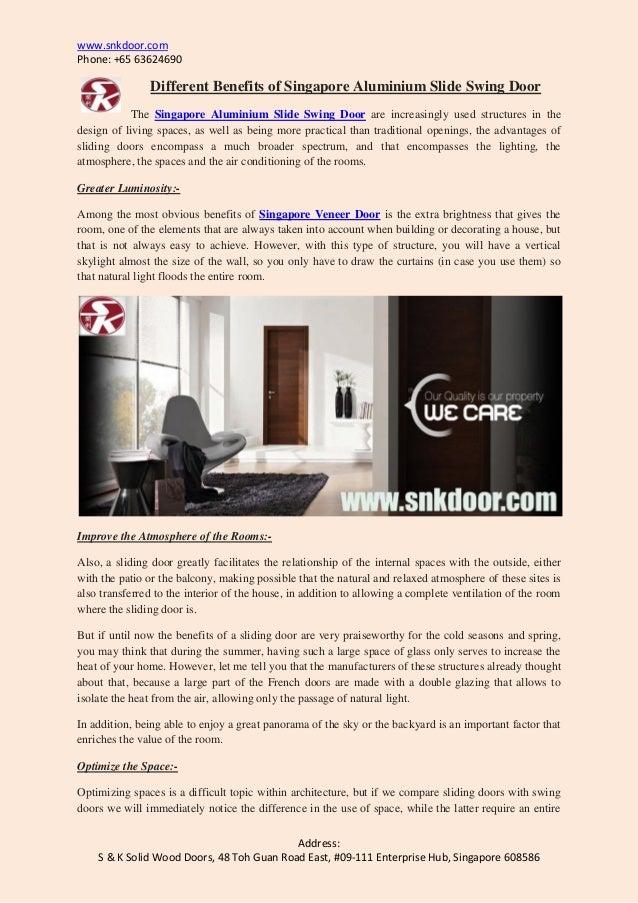 ... Aluminium Slide Swing Door. Www.snkdoor.com Phone: +65 63624690  Address: S U0026 K Solid ...