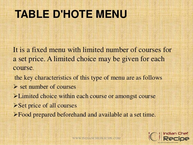 Different between table d hote and a la carte menu for Hote meaning