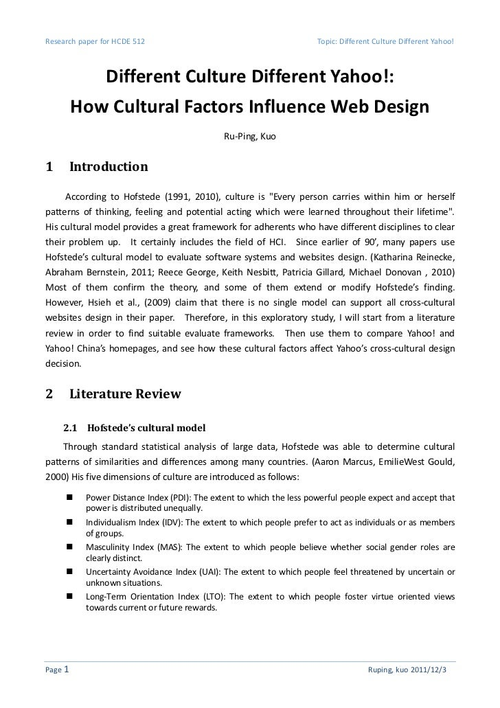 Research paper for HCDE 512                                             Topic: Different Culture Different Yahoo!         ...
