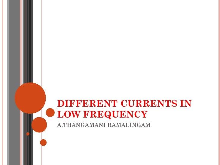 DIFFERENT CURRENTS INLOW FREQUENCYA.THANGAMANI RAMALINGAM