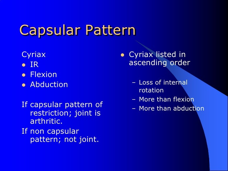 Differential Diagnosis Of The Hip40 Stunning Shoulder Capsular Pattern