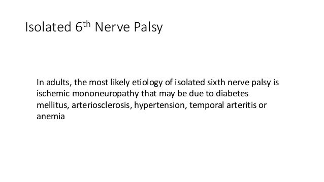Differential diagnosis in lateral rectus palsy