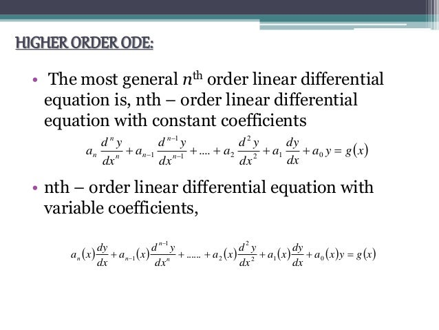 Higher-Order Linear Ordinary Differential Equations