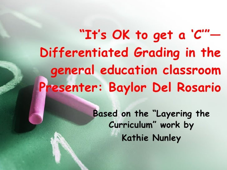 """"""" It's OK to get a 'C'""""—Differentiated Grading in the general education classroom Presenter: Baylor Del Rosario Based on t..."""