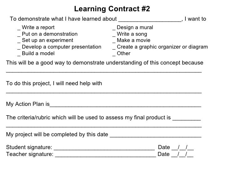 Differentiated Instruction Powerpoint For Pd Workshop – Learning Contract Template