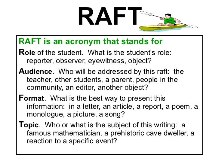 what is a raft writing assignment Persuasive raft assignment (santa, 1988) choose a role, audience, and format then compose a persuasive piece of writing that fits the topic role audience format topic.