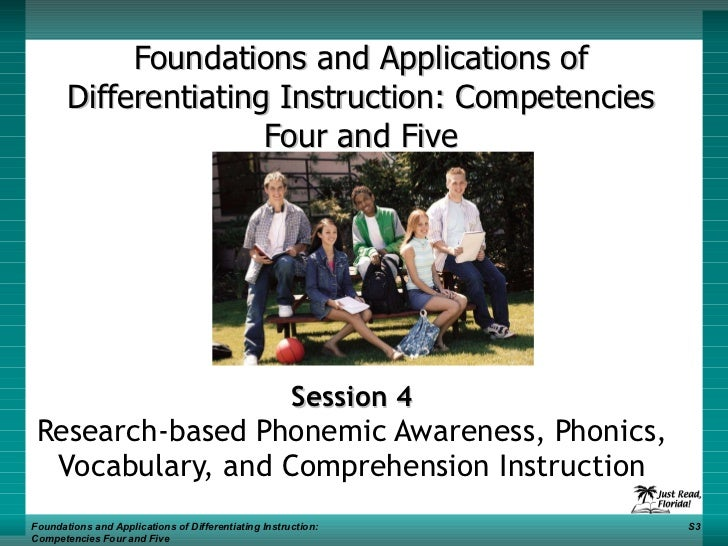 Foundations and Applications of Differentiating Instruction: Competencies Four and Five Session 4 Research-based Phonemic ...