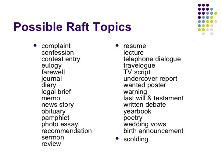 differentiated instruction strategy raft  10 possible raft topics