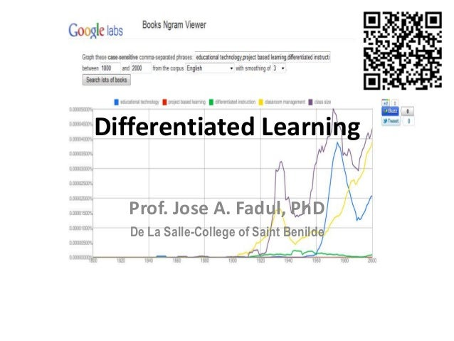 differentiated learning In the differentiated classroom, rather than assessment taking place at the end of learning, students are assessed on an on-going basis so that teaching, and indeed the other methods of differentiation, can be continuously adjusted according to the learners' needs.