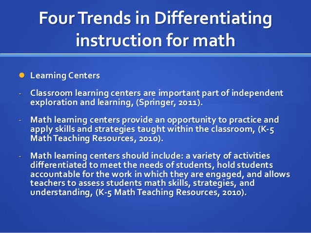 Differentiating Math Instruction Best Setting Instruction Guide