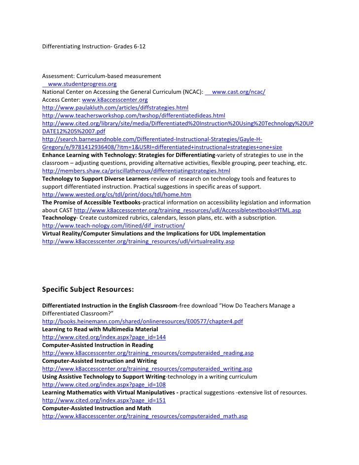 Differentiating Instruction- Grades 6-12<br />Assessment: Curriculum-based measurement<br />    www.studentprogress.org <b...