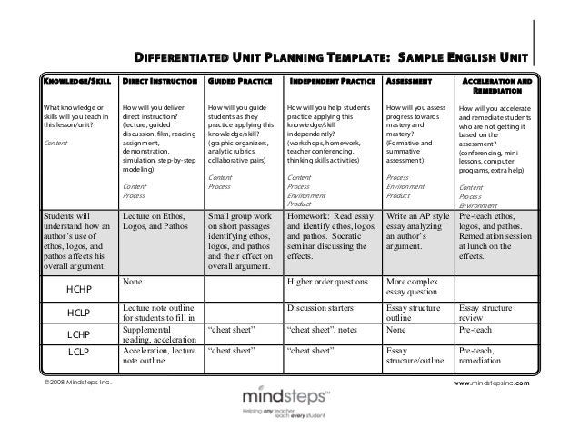 Differentiation sample english unit plan