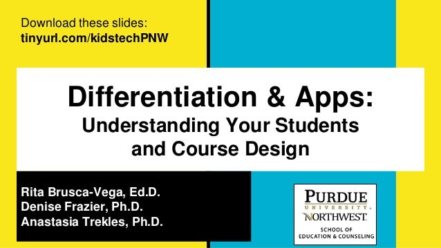 Differentiation & Apps: Understanding Your Students and Course Design Rita Brusca-Vega, Ed.D. Denise Frazier, Ph.D. Anasta...